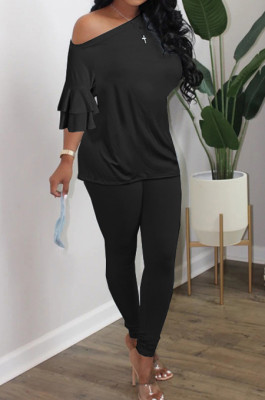 Black Summer New Flare Half Sleeve Loose Top Bodycon Pants Solid Color Casual Sets HXY8056-1