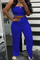 Blue Wholesal Women Pure Color Strapless High Waist Wide Leg Pants Casual Sets SNM8236-5