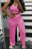 Pink Wholesal Women Pure Color Strapless High Waist Wide Leg Pants Casual Sets SNM8236-6