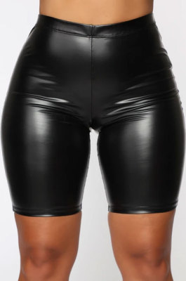 Black Women Solid Color Casual Shorts BLE2515