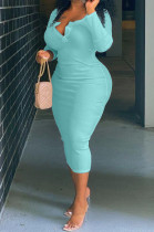 Light Blue Big Yards Casual Long Sleeve Notched Neck Slim Fitting Solid Color Long Dress DN8629-4
