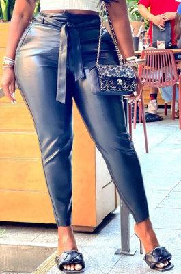 Black Pure Color Autumn Winter Pocket Back Zipper Long pants BLE2512