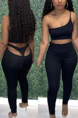 Black Cotton Blend Pure Color Back Hollow Out Low Waist Bodycon Pants DN8627-1