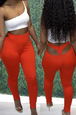 Red Cotton Blend Pure Color Back Hollow Out Low Waist Bodycon Pants DN8627-2