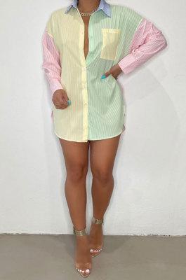 Pink Blue Autumn Winter Women Printing Color Block Long Sleeve Shirts BLE2511