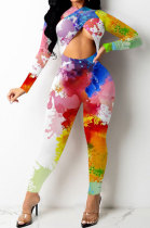 White Women Trendy Personality Starry Sky Multicolor Splash-Ink Printing Sexy Tight Crop Bodycon Jumpsuits PY0834-1