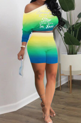 Neon Green Casual Positioning Gradient Letter Printing Batwing Sleeve Off Shoulder Shorts Two-Piece HXY8060-1