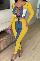 Yellow Blue Euramerican Women Bandage Ribber Spliced Hollow Out Long Sleeve Long Pants Sets NK262-1