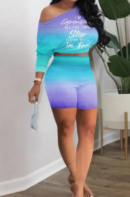 Neon Purple Casual Positioning Gradient Letter Printing Batwing Sleeve Off Shoulder Shorts Two-Piece HXY8060-3