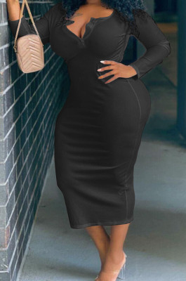 Black Big Yards Casual Long Sleeve Notched Neck Slim Fitting Solid Color Long Dress DN8629-5