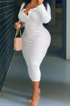 White Big Yards Casual Long Sleeve Notched Neck Slim Fitting Solid Color Long Dress DN8629-1
