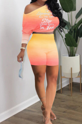 Neon Orange Casual Positioning Gradient Letter Printing Batwing Sleeve Off Shoulder Shorts Two-Piece HXY8060-2