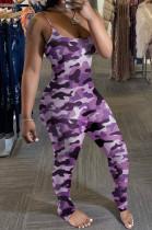 Purple Camouflage Summer Sexy Condole Belt Slim Fitting Ruffle Bodycon Jumpsuits MD308-5