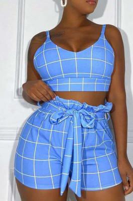 Blue Euramerican Plaid Printing Condole Belt Crop Strapless High Waist Shorts Two-Piece HHM6192-1