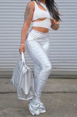 Silver Fashion Women Elastic High Waist Tight Ruffle Slit Pants LSZ91185-2