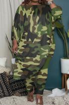 Big Yards Camouflage Oblique Shoulder Half Sleeve Irregularity Loose Top Bodycon Pants Sets QSS51035