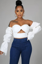 White Women Solid Color Strapless Long Sleeve Ruffle Bodycon Backless Crop Tops YF9134-1