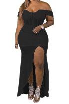 Black Strapless Solid Color Irregular Sexy Split Milk Silk Plus Long Dress YF1660-2