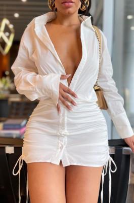 White New Autumn Drawsting Long Sleeve Lapel Colllar Single-Breasted Shirt Dress LML262-1