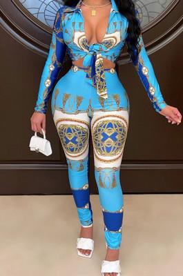 Blue Cotton Blend Printing Long Sleeve Lapel Collar Dew Waist Shirts Bodycon Pants Sets QSS51036