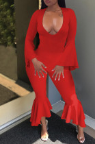 Red Sexy Horn Sleeve V Collar Slim Fitting Solid Color Flare Bodycon Jumpsuits WM21726-2