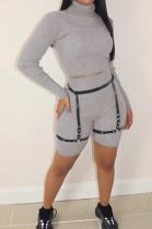 Light Gray Ribber Long Sleeve High Collar T-Shirt High Waist Shorts Solid Color Casual Sets WM21709-3