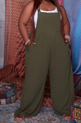 Army Green Big Yards Casual Wholesal Loose Pure Color Not With Top Suspender Trousers QSS51038-1