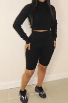 Black Ribber Long Sleeve High Collar T-Shirt High Waist Shorts Solid Color Casual Sets WM21709-1