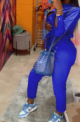 Royal Blue Casual Pure Color Long Sleeve Lapel Collar Zipper With Beltband Slim Fitting Overall Jumpsuit LML264-1