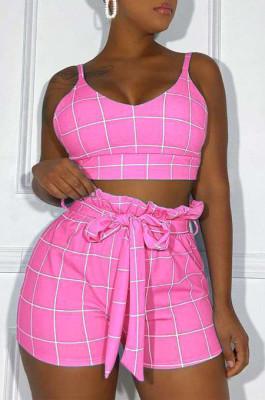 Pink Euramerican Plaid Printing Condole Belt Crop Strapless High Waist Shorts Two-Piece HHM6192-2