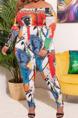 As Shown Women Trendy Casual Printing Strapless Off Shoulder Plus Jumpsuit QQX1222