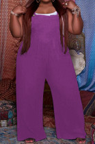 Purple Big Yards Casual Wholesal Loose Pure Color Not With Top Suspender Trousers QSS51038-3