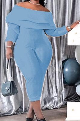 Light Blue Women Loose Flounce High Elastic Ribber Long Sleeve Plus Jumpsuit XT8113-4