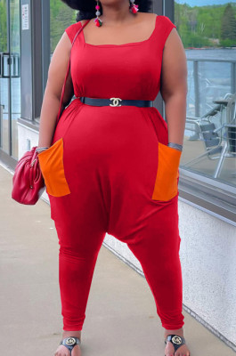 Red Big Yards Casual Pure Color Sleeveless Square Neck Loose Tank Jumpsuits YFS10011-1