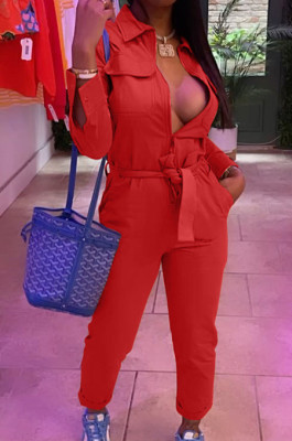 Red Casual Pure Color Long Sleeve Lapel Collar Zipper With Beltband Slim Fitting Overall Jumpsuit LML264-2