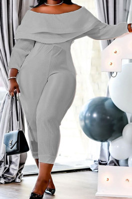 Gray Women Loose Flounce High Elastic Ribber Long Sleeve Plus Jumpsuit XT8113-2