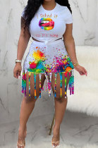 Fashion Summer Casual Splash-Ink Lips Print Tassel Shorts Sets JH252