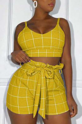 Yellow Euramerican Plaid Printing Condole Belt Crop Strapless High Waist Shorts Two-Piece HHM6192-3