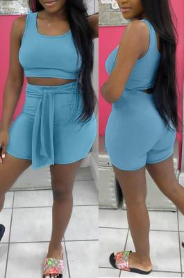 Sky Blue Cotton Blend Pure Color U Neck Tank High Waist Bandage Shorts Sport Two-Piece TC080-1