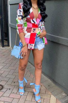 Multicolor Women Fashion Spliced Plaid Long Sleeve Printing Coat SMY8109