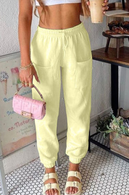 Yellow Women Fashion Sport Casual Solid Color Pocket Long Pants AYM5035-1