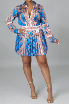 Blue Euramerican Long Sleeve Shirt Ruffle Skirts Sets YF9196-4