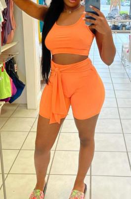 Orange Cotton Blend Pure Color U Neck Tank High Waist Bandage Shorts Sport Two-Piece TC080-2