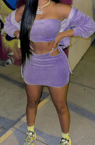 Purple Casual Wholesal Long Sleeve Zippet Hoodie Coat &Strapless Short Skirts Sport Three Piece TC091-3