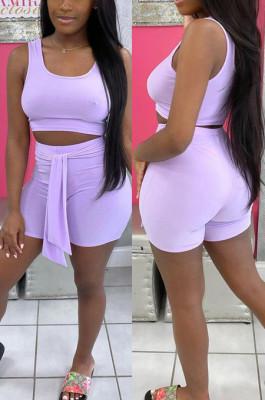 Light Purple Cotton Blend Pure Color U Neck Tank High Waist Bandage Shorts Sport Two-Piece TC080-3