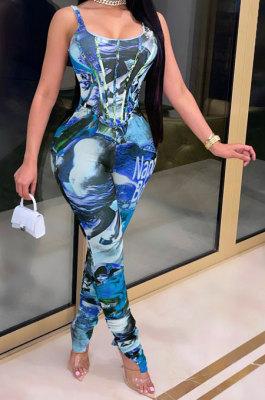 Blue Women Digital Printing Sleeveless Sexy Condole Belt Bodycon Jumpsuits XZ5195-1
