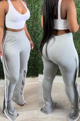 Gray High Waist Elasticband Pure Color Edge Strip Sport Casual Pants TC088-2