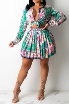 Green Euramerican Long Sleeve Shirt Ruffle Skirts Sets YF9196-3