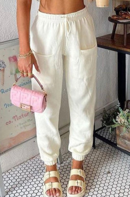 Rice White Women Fashion Sport Casual Solid Color Pocket Long Pants AYM5035-2