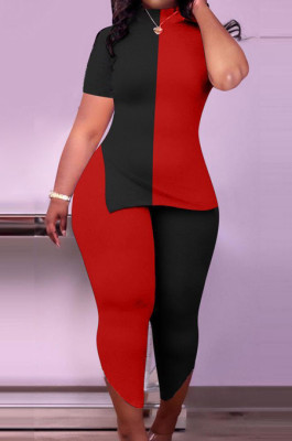 Black Red Big Yards Spliced Short Sleeve High Neck Slit Ninth Pants Casual Two-Piece SXS6066